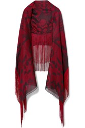 Alexander Mcqueen Fringed Satin Jacquard Scarf Red