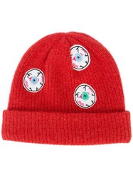 The Elder Statesman Eyes Beanie Women Cashmere One Size Red