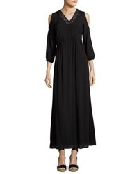 Neiman Marcus Cold Shoulder Maxi Dress Black