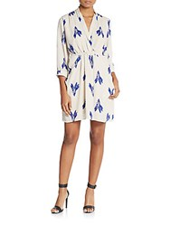 Collective Concepts Floral Print Wrap Dress Ivory