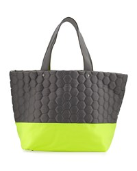 Neiman Marcus Honeycomb Colorblock Neoprene Tote Bag Gray Neon Yellow