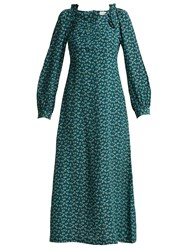 Masscob Provence Floral Print Silk Midi Dress Teal