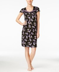 Charter Club Embroidered Smocked Nightgown Only At Macy's Black Botanical