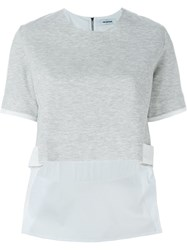 Tim Coppens Contrast Sleeve Side Applique Detail Cropped T Shirt Grey