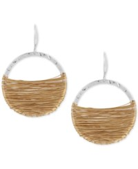 Robert Lee Morris Soho Two Tone Wire Wrapped Gypsy Hoop Earrings Two Tone