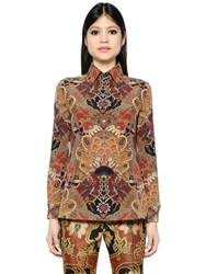 Etro Printed Silk Crepe Polo Shirt Bordeaux