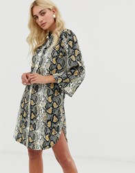 Zibi London Snake Print Shirt Dress With Belt Detail Beige