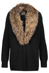 Joie Evina Faux Fur Trimmed Wool And Cashmere Blend Cardigan Black