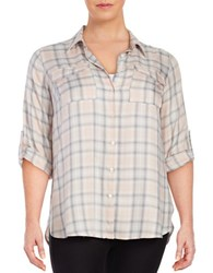 Vince Camuto Plus Plaid Button Front Shirt Pearl Glow