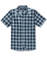 Fox Men's Shackled Yarn Dyed Plaid Pocket Shirt Medium Blue