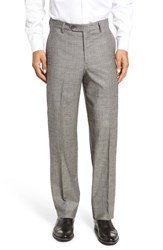 Berle Men's Flat Front Stretch Plaid Wool Trousers Black White