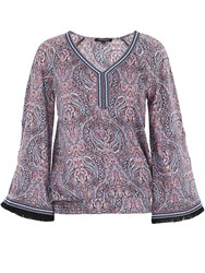 Morgan Wide Sleeve Patterned Top Blue
