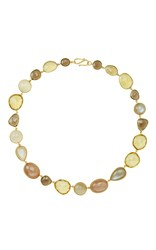 Bahina Smokey And Beer Quartz And Peach Moonstone Necklace Yellow