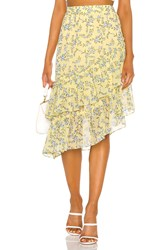 1.State Tiered Asymmetrical Blossom Cluster Skirt Yellow