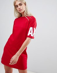 Armani Exchange T Shirt Dress With Shine Logo 1445 Bloody Mary Red