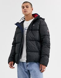 Tommy Jeans Essential Hooded Puffer Jacket In Black With Large Flag Logo