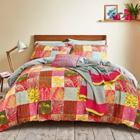 Clarissa Hulse Mini Patchwork Duvet Set Pink Pink Yellow Orange