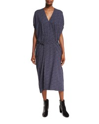 Vince Celestial Polka Dot Kimono Wrap Dress Black