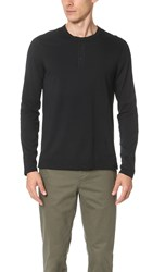 Reigning Champ Cotton Jersey Long Sleeve Henley Black