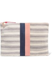 Clare V. V Striped Canvas Clutch Cream