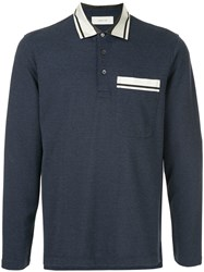 Cerruti 1881 Long Sleeved Polo Shirt Blue
