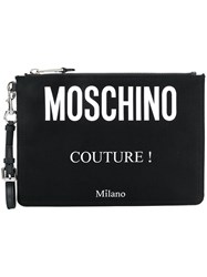 Moschino Logo Printed Clutch Bag Black