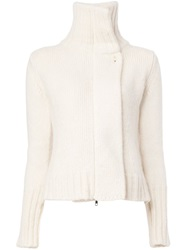 Ann Demeulemeester Blanche Roll Neck Knit Cardigan White