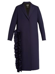 Msgm Ruffled Single Breasted Crepe Trench Coat Navy