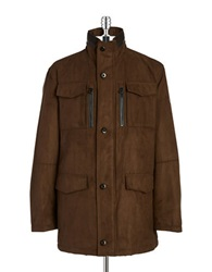Bugatti Houndstooth Trimmed Parka Brown