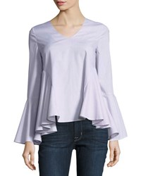 Romeo And Juliet Couture Long Sleeve Striped Poplin Top Multi Pattern