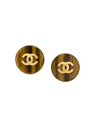 Chanel Vintage Logo Button Earrings Brown