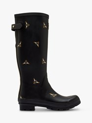 Joules Bee Print Waterproof Tall Wellington Boots Black