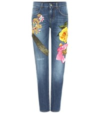 Dolce And Gabbana Embellished Jeans Blue