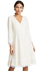 Prabal Gurung Fit And Flare Lace Trim Dress Ivory