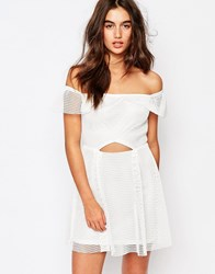Missguided Bardot Grid Lace Prom Dress White