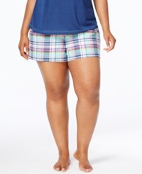 By Jennifer Moore Plus Size Cotton Flannel Pajama Shorts Only At Macy's Navy Plaid