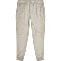 River Island Mensstone Suede Panel Joggers