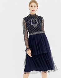 Frock And Frill High Neck Long Sleeve Beaded Dress With Tulle Skirt Navy