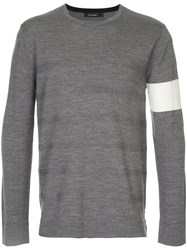 Guild Prime Stripe Detail Jumper Acrylic Wool Grey