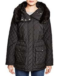 Dkny Faux Fur Trim Quilted Anorak Black