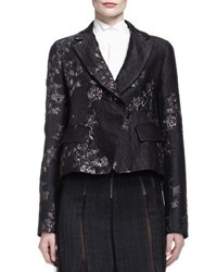 Donna Karan Metallic Brocade Short Jacket W Belt Black Asphalt