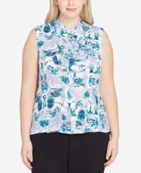 Tahari By Arthur S. Levine Asl Plus Size Printed Ruffled Button Front Shell Ivory Blue