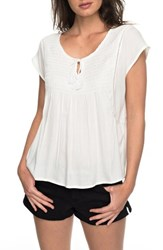 Roxy Electric Fling Smocked Top Marshmallow