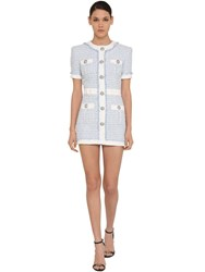 Balmain Sequined Tweed Mini Dress Light Blue