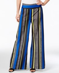 Bar Iii Striped Wide Leg Pants Only At Macy's Black Combo