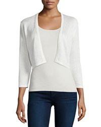 Neiman Marcus Cashmere Collection Sequined Silk Blend Shrug White