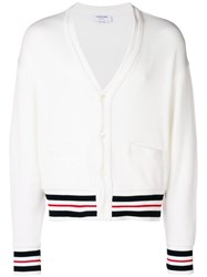 Thom Browne Cricket Stirpe Oversized Cardigan White