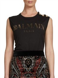 Balmain Sleeveless Logo Tee Emerald White Pink Black