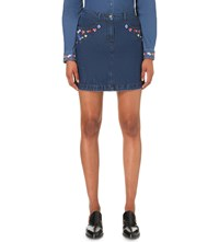 The Kooples Floral Embroidered Denim Skirt Middle Blue