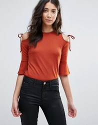 Daisy Street Cold Shoulder Top With Tie Detail Copper Brown